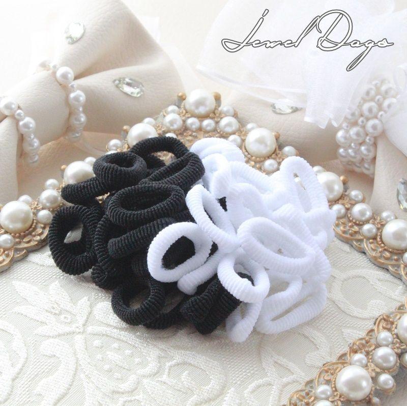 画像1: ブラック&ホワイト*タオルゴム (1)
